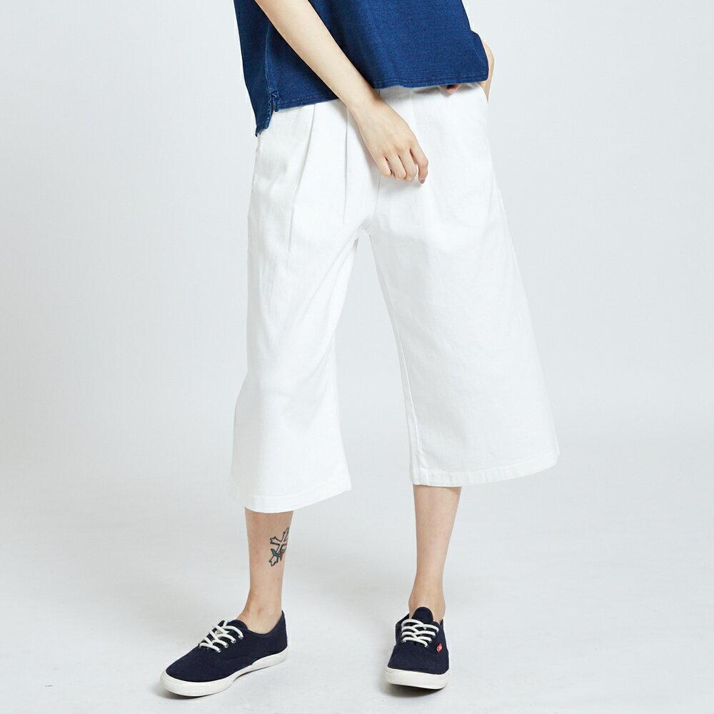 新品↘SOMETHING 基本打摺挺版 七分休閒寬褲-女款 白色 WIDE LEG CULOTTES CASUAL PANTS 1