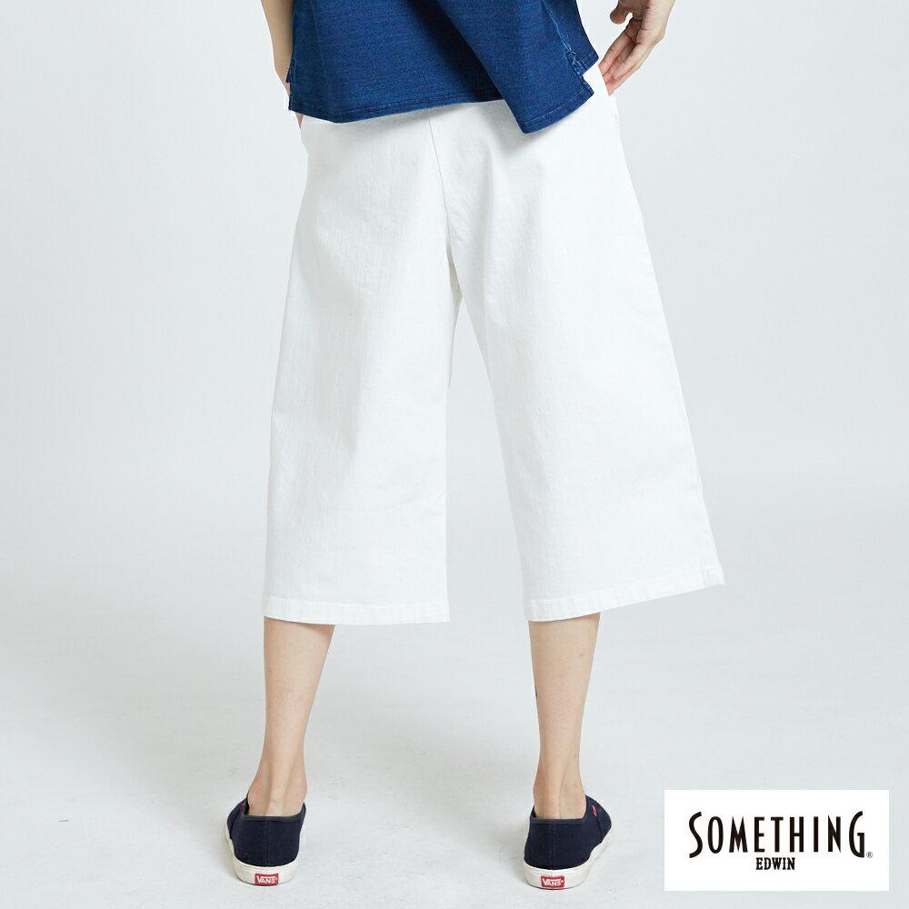 新品↘SOMETHING 基本打摺挺版 七分休閒寬褲-女款 白色 WIDE LEG CULOTTES CASUAL PANTS 2