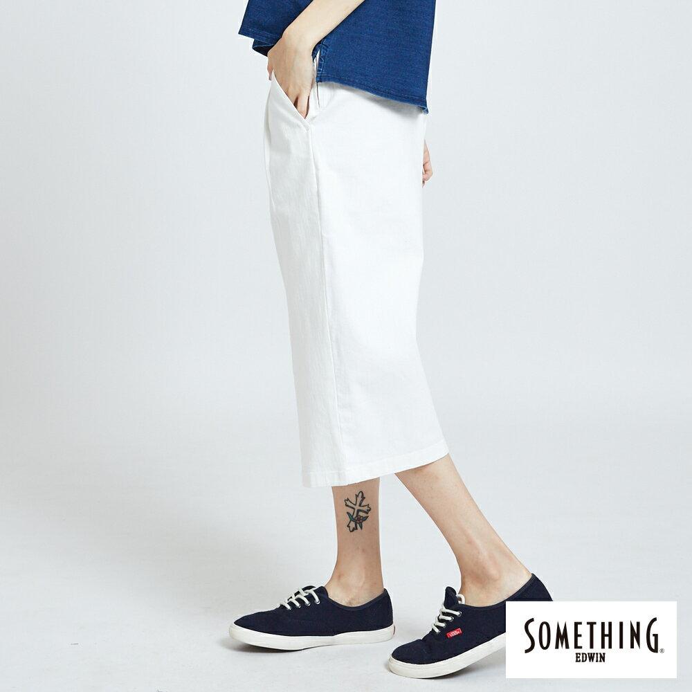 新品↘SOMETHING 基本打摺挺版 七分休閒寬褲-女款 白色 WIDE LEG CULOTTES CASUAL PANTS 4