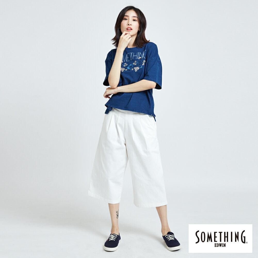 新品↘SOMETHING 基本打摺挺版 七分休閒寬褲-女款 白色 WIDE LEG CULOTTES CASUAL PANTS 5