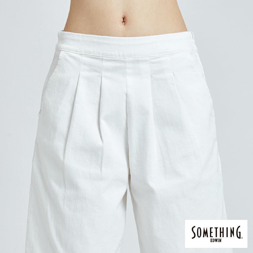 新品↘SOMETHING 基本打摺挺版 七分休閒寬褲-女款 白色 WIDE LEG CULOTTES CASUAL PANTS 6
