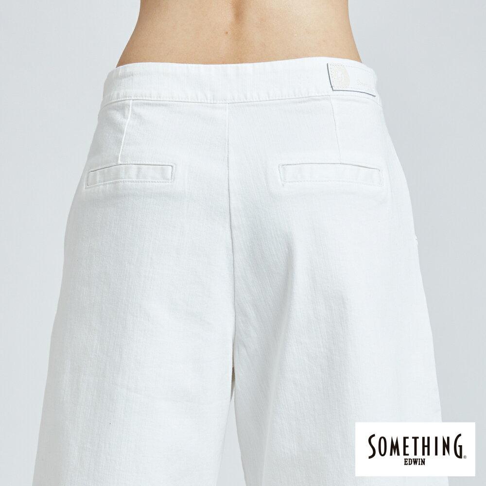 新品↘SOMETHING 基本打摺挺版 七分休閒寬褲-女款 白色 WIDE LEG CULOTTES CASUAL PANTS 7