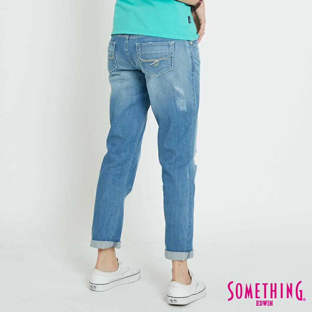 【APP領券9折】SOMETHING CELEB 輕刷破加工 八分牛仔褲-女款 漂淺藍 1