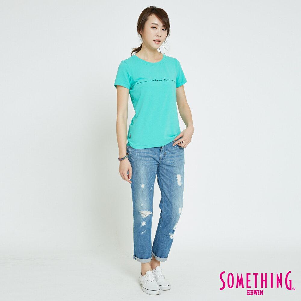 【APP領券9折】SOMETHING CELEB 輕刷破加工 八分牛仔褲-女款 漂淺藍 4