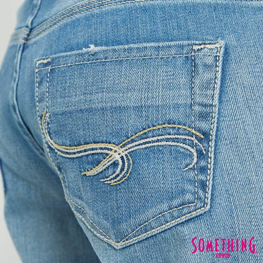 【APP領券9折】SOMETHING CELEB 輕刷破加工 八分牛仔褲-女款 漂淺藍 9