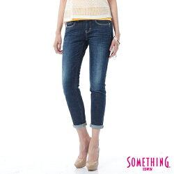 新品↘SOMETHING CELEB 經典五袋式 八分牛仔褲 -女款 原藍磨