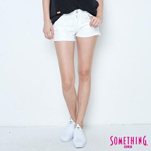 【新品上市↘】SOMETHING玫瑰繡花牛仔短褲-女款白色【5月會員消費滿3000元再賺15%點數】