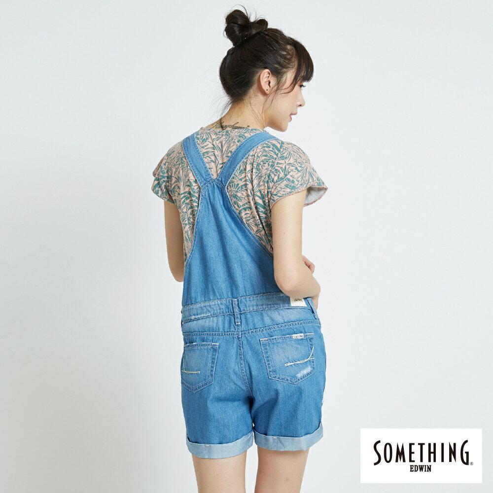 新品↘SOMETHING NEO FIT 破壞加工 牛仔吊帶短褲-女款 漂淺藍 OVERALL SHORTS 1