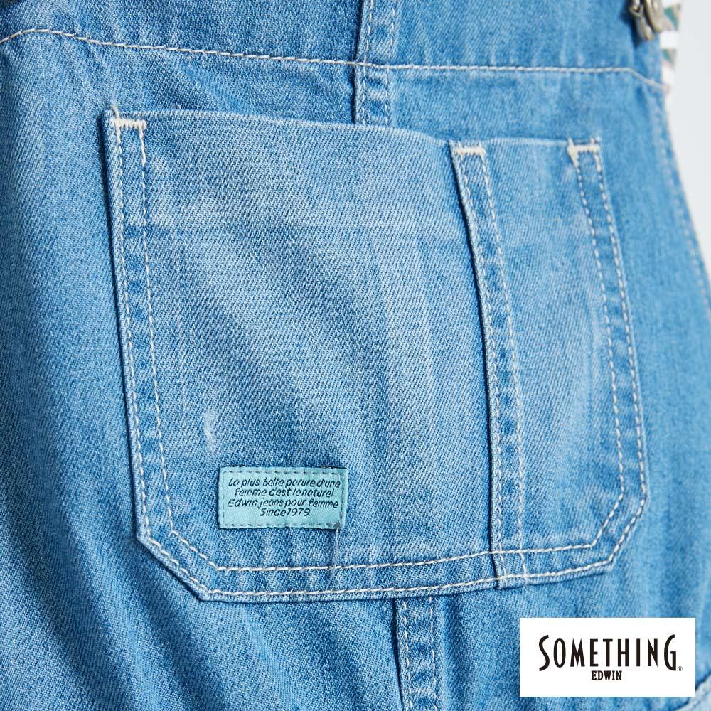 新品↘SOMETHING NEO FIT 破壞加工 牛仔吊帶短褲-女款 漂淺藍 OVERALL SHORTS 7