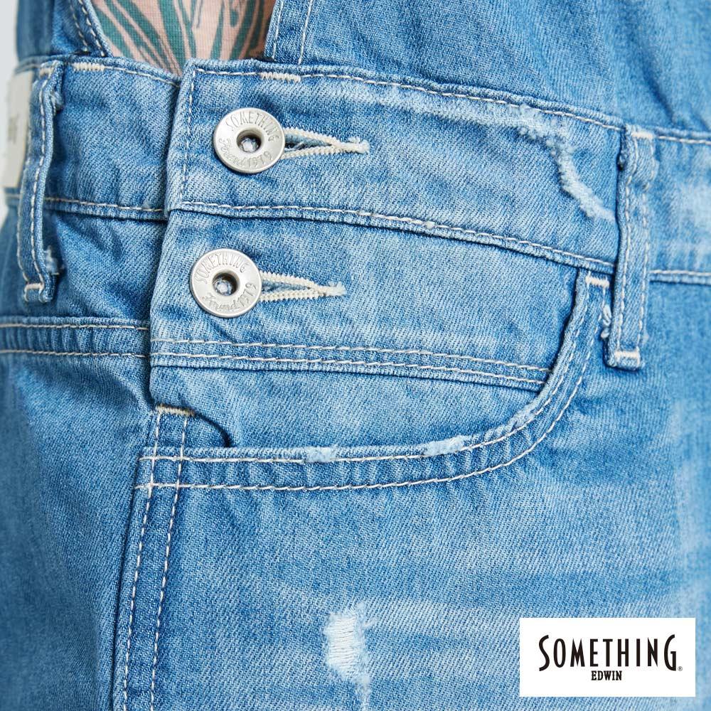 新品↘SOMETHING NEO FIT 破壞加工 牛仔吊帶短褲-女款 漂淺藍 OVERALL SHORTS 8