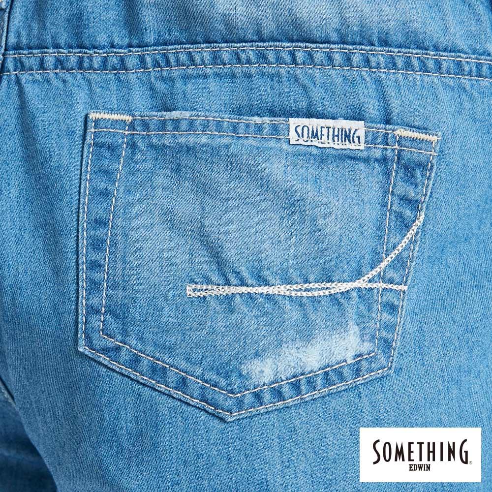 新品↘SOMETHING NEO FIT 破壞加工 牛仔吊帶短褲-女款 漂淺藍 OVERALL SHORTS 9