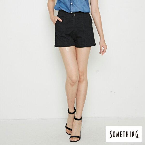 【新品上市↘】SOMETHING都會修身鬆緊高腰短褲-女款黑色【5月會員消費滿3000元再賺15%點數】