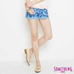 新品↘SOMETHING 玫瑰繡花抽鬚 牛仔超短褲-女款 漂淺藍 SHORTS
