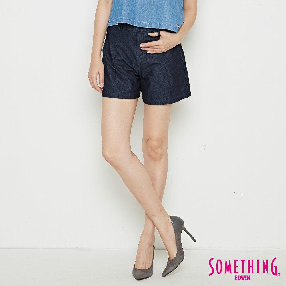 新品↘SOMETHING LADIVA 高腰打摺 牛仔短褲-女款 原藍色 SHORTS 0