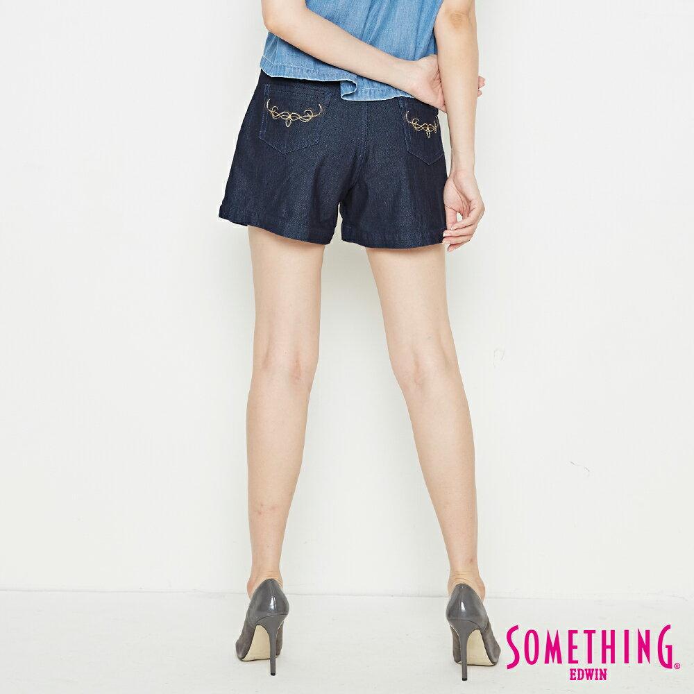 新品↘SOMETHING LADIVA 高腰打摺 牛仔短褲-女款 原藍色 SHORTS 1