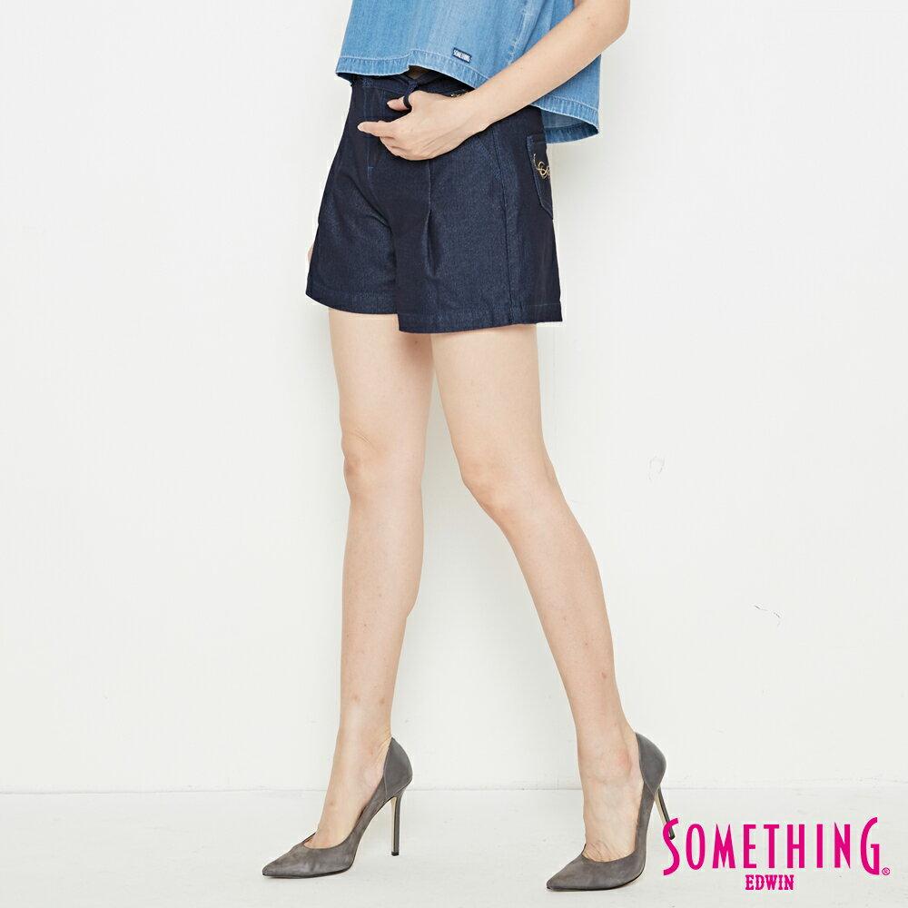 新品↘SOMETHING LADIVA 高腰打摺 牛仔短褲-女款 原藍色 SHORTS 2