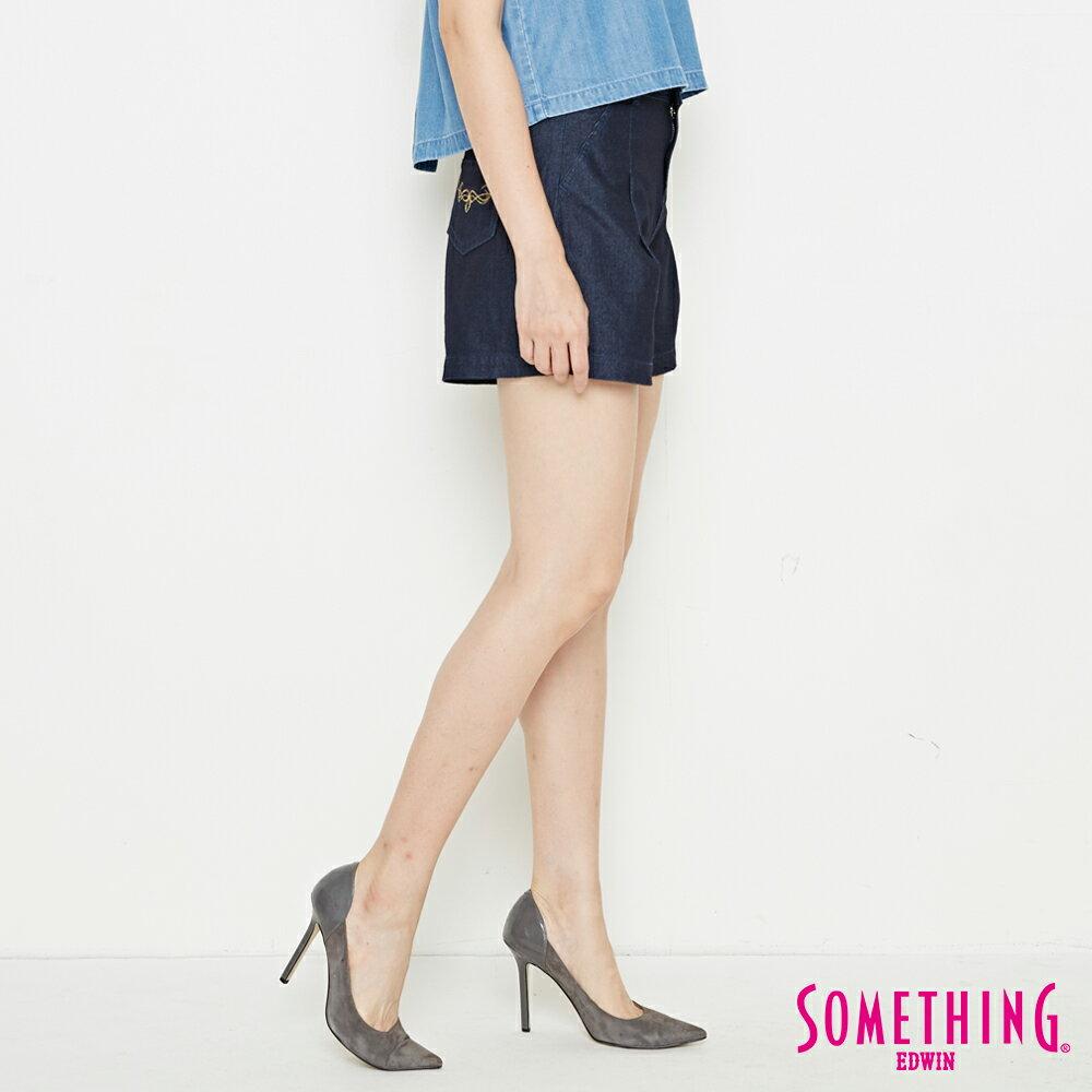 新品↘SOMETHING LADIVA 高腰打摺 牛仔短褲-女款 原藍色 SHORTS 3