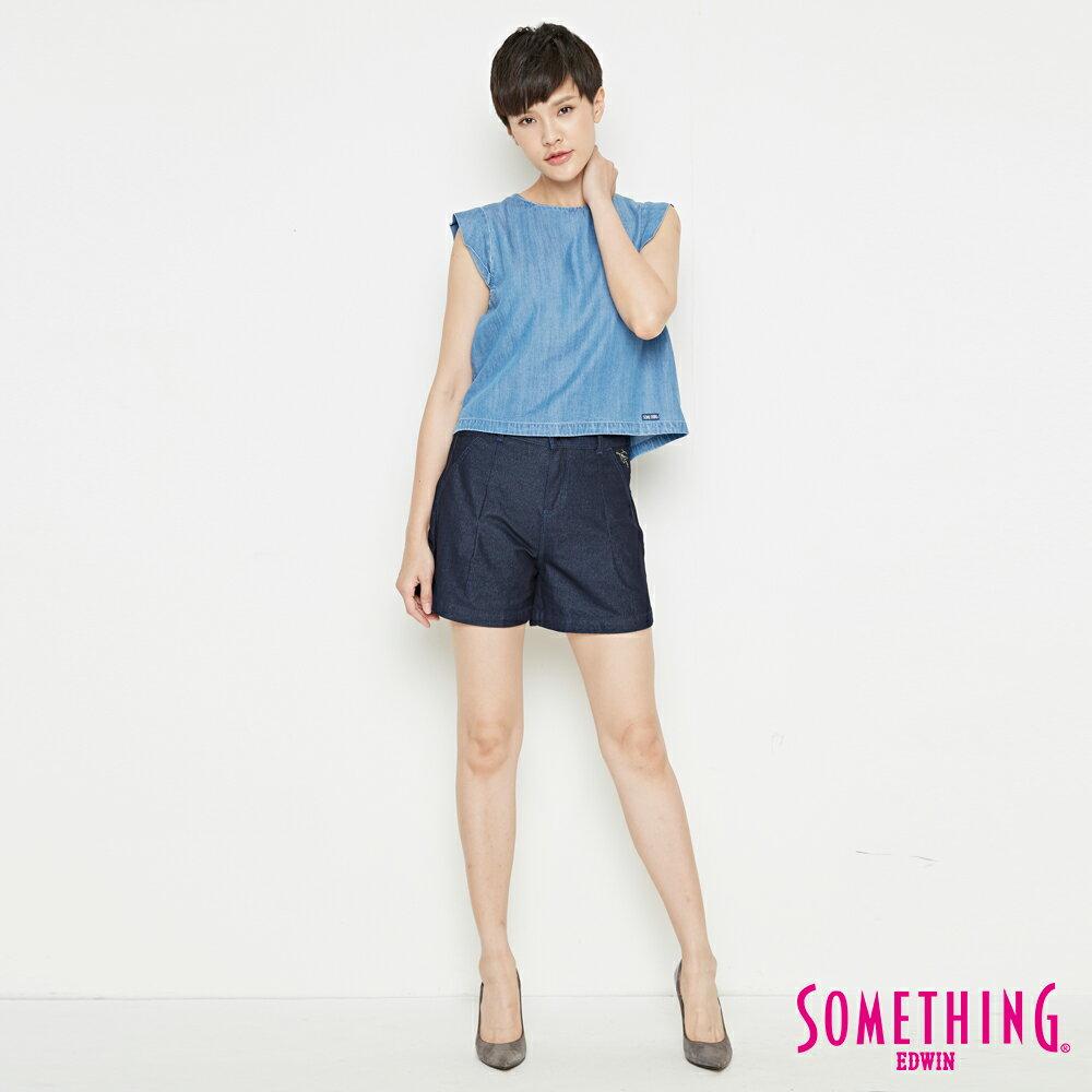 新品↘SOMETHING LADIVA 高腰打摺 牛仔短褲-女款 原藍色 SHORTS 4