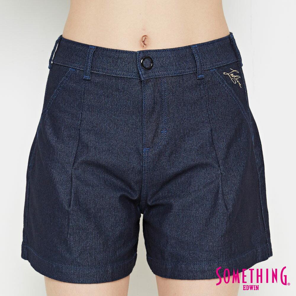新品↘SOMETHING LADIVA 高腰打摺 牛仔短褲-女款 原藍色 SHORTS 5