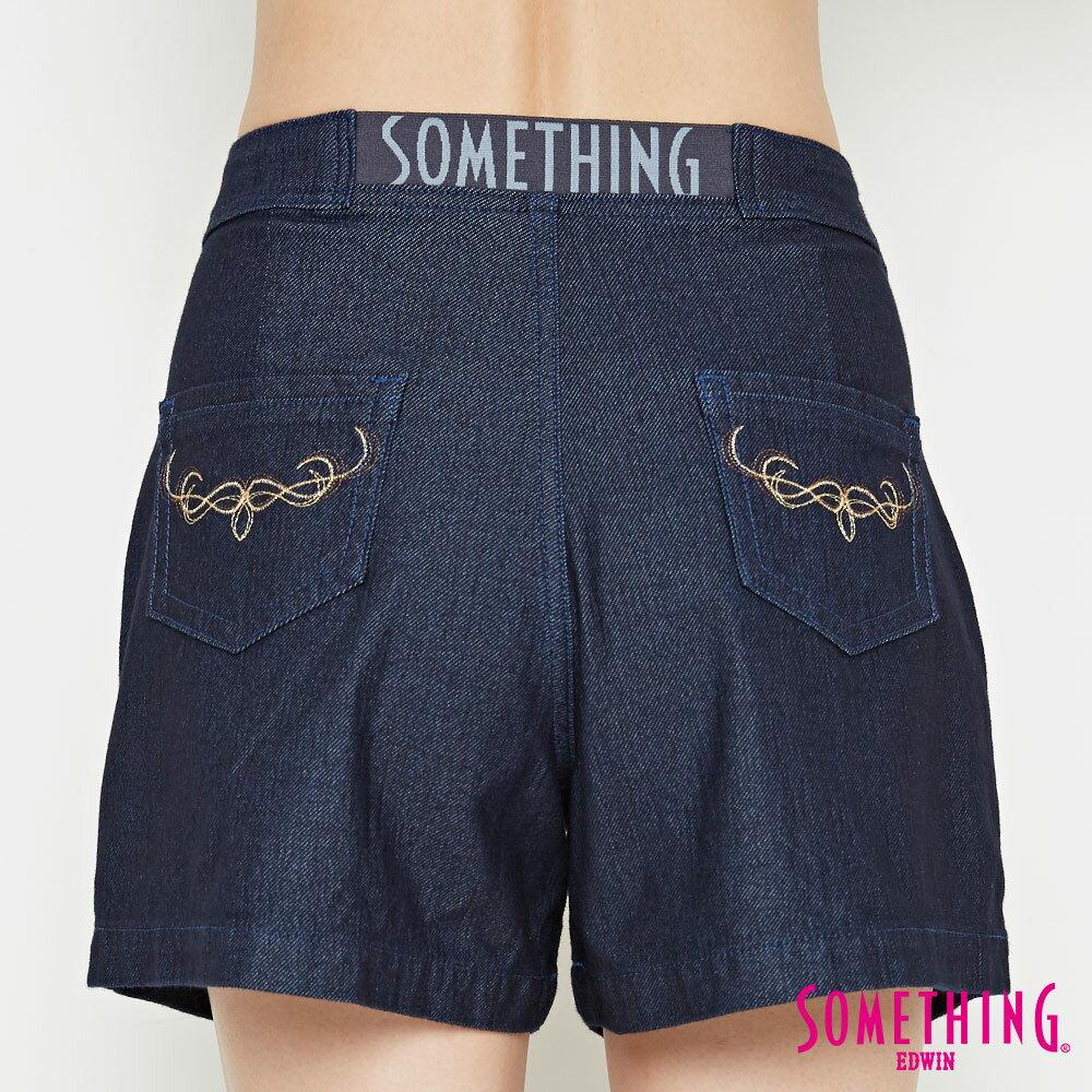 新品↘SOMETHING LADIVA 高腰打摺 牛仔短褲-女款 原藍色 SHORTS 6