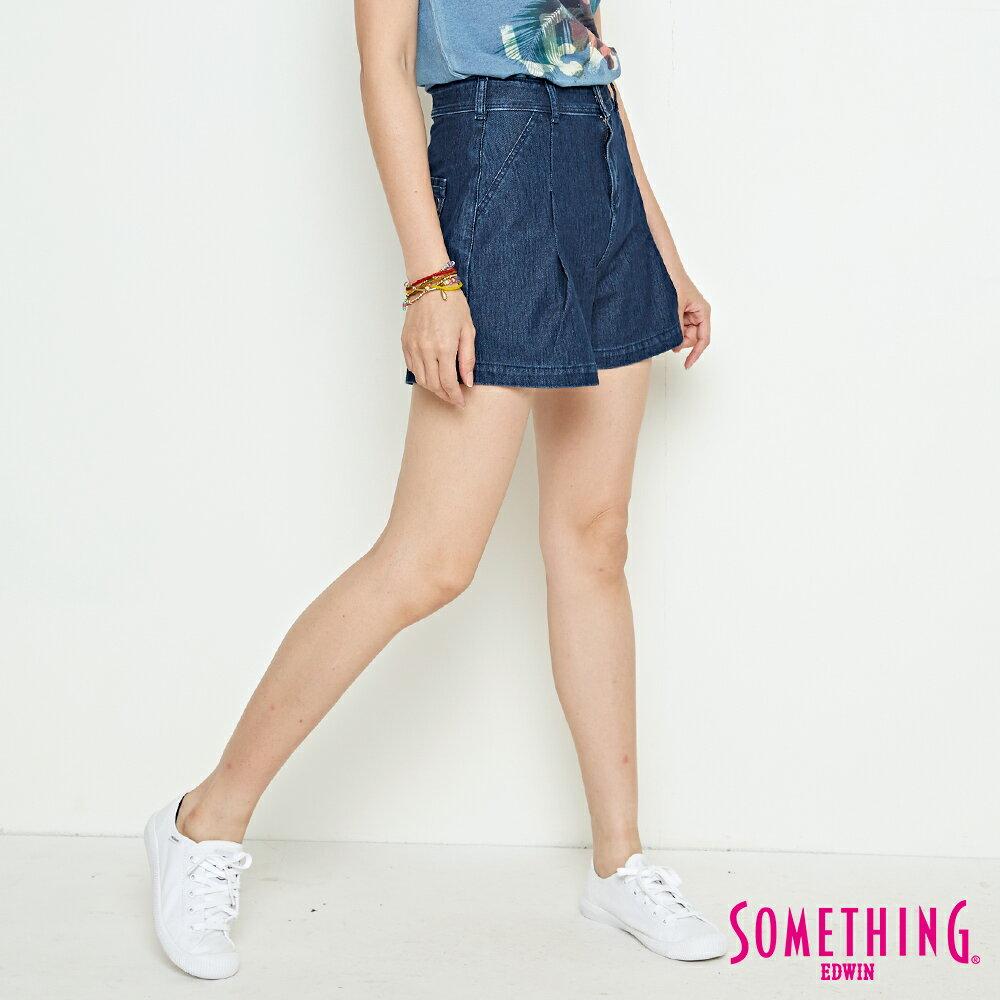 新品↘SOMETHING LADIVA 高腰打摺 牛仔短褲-女款 拔洗藍 SHORTS 3