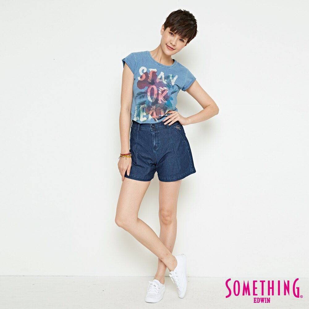 新品↘SOMETHING LADIVA 高腰打摺 牛仔短褲-女款 拔洗藍 SHORTS 4