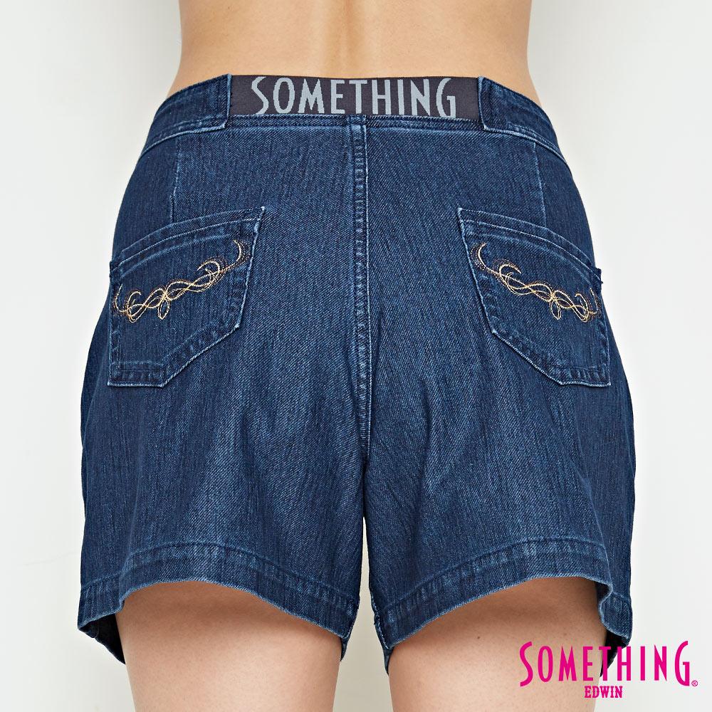 新品↘SOMETHING LADIVA 高腰打摺 牛仔短褲-女款 拔洗藍 SHORTS 6