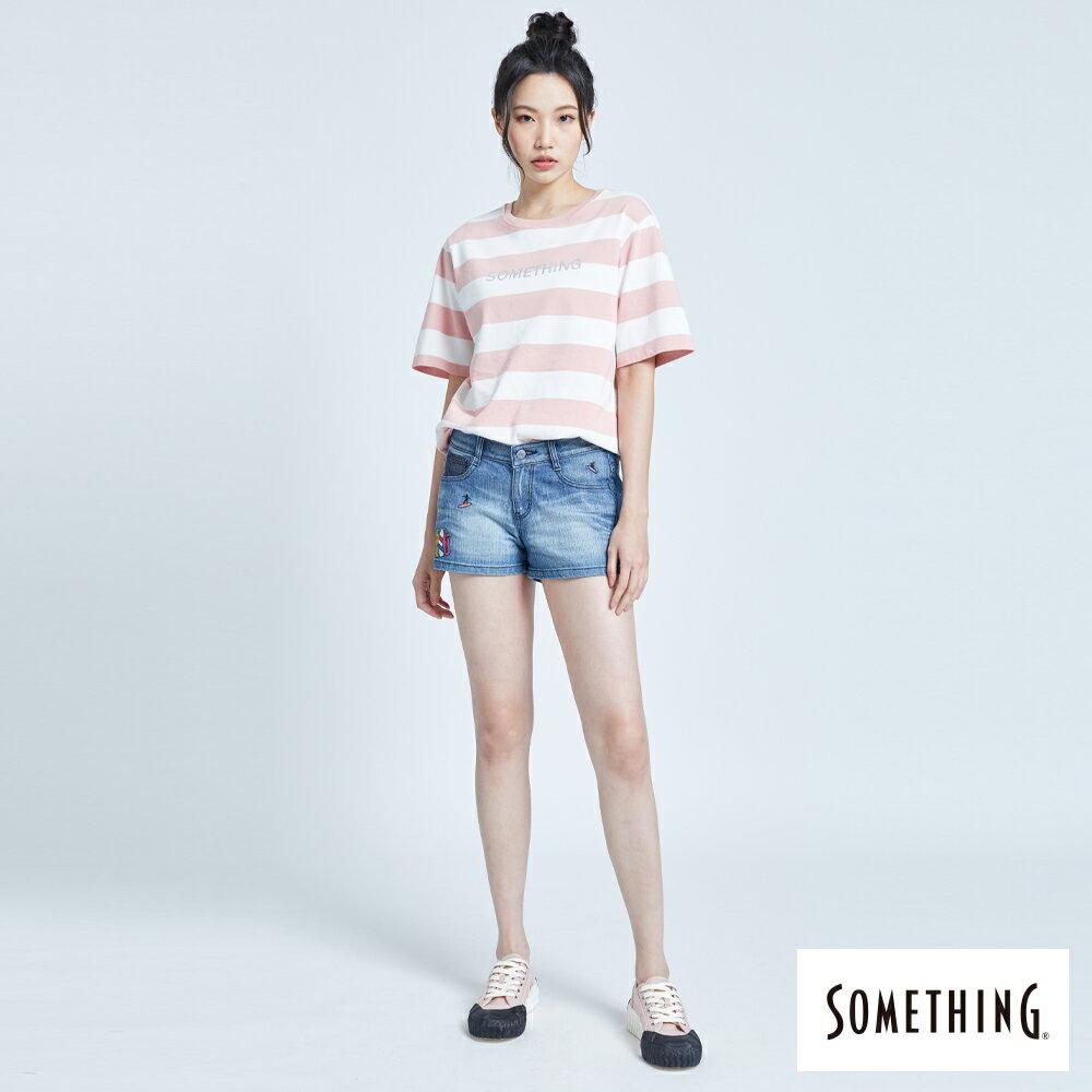 新品↘SOMETHING 復古海灘刺繡 牛仔短褲-女款 拔洗藍 SHORTS 4