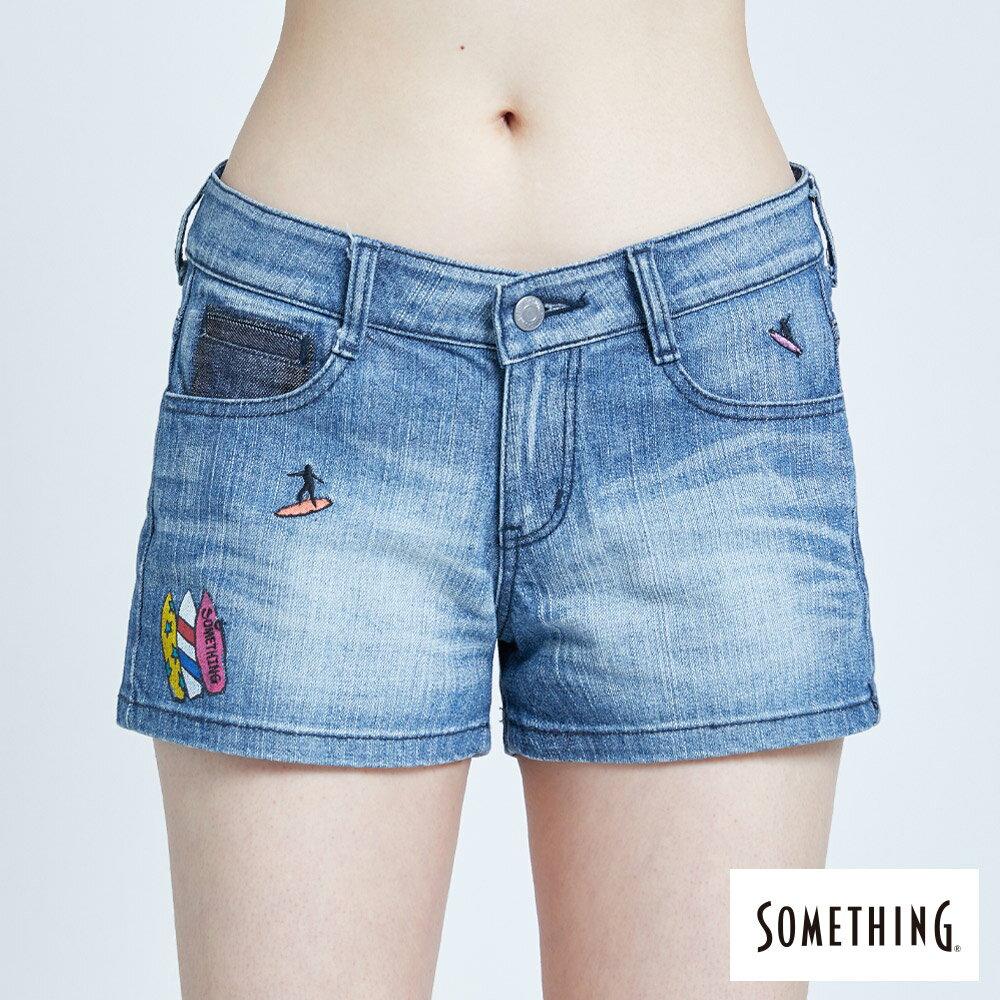 新品↘SOMETHING 復古海灘刺繡 牛仔短褲-女款 拔洗藍 SHORTS 5