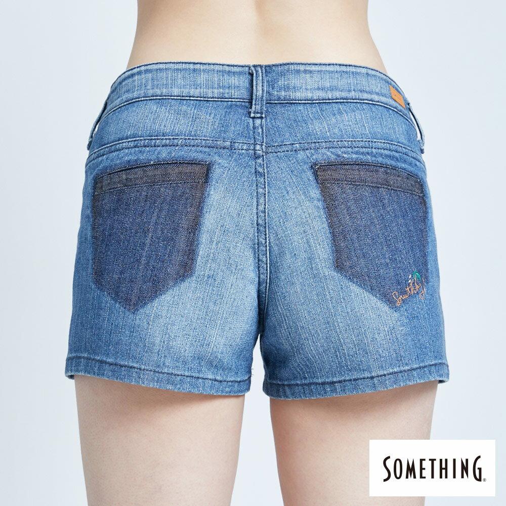 新品↘SOMETHING 復古海灘刺繡 牛仔短褲-女款 拔洗藍 SHORTS 6