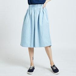 新品↘SOMETHING 立體腰摺 七分牛仔褲裙-女款 重漂藍 WIDE LEG