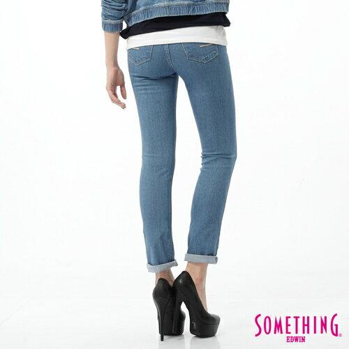 【5折優惠↘】SOMETHING NEO FIT 蕾絲印花直筒褲-女款 石洗藍 1