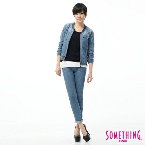 【5折優惠↘】SOMETHING NEO FIT 蕾絲印花直筒褲-女款 石洗藍 2