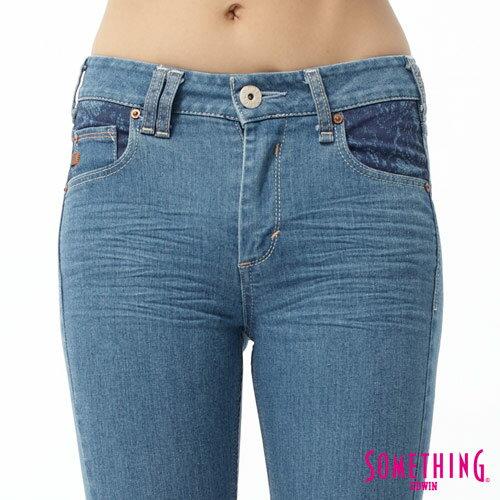 【5折優惠↘】SOMETHING NEO FIT 蕾絲印花直筒褲-女款 石洗藍 3