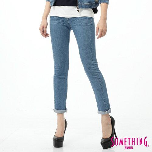 【5折優惠↘】SOMETHING NEO FIT 蕾絲印花直筒褲-女款 石洗藍 0