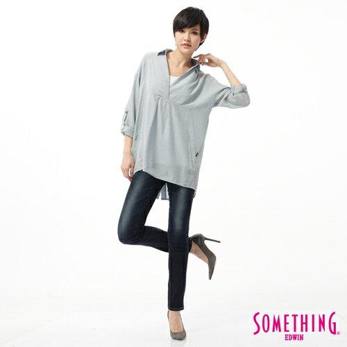 【5折優惠↘】SOMETHING CELEB 剪接蕾絲直筒褲-女款 原藍磨 2