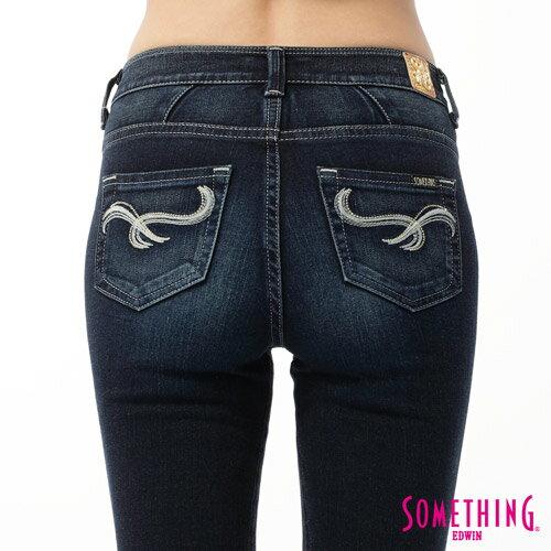 【5折優惠↘】SOMETHING CELEB 剪接蕾絲直筒褲-女款 原藍磨 4
