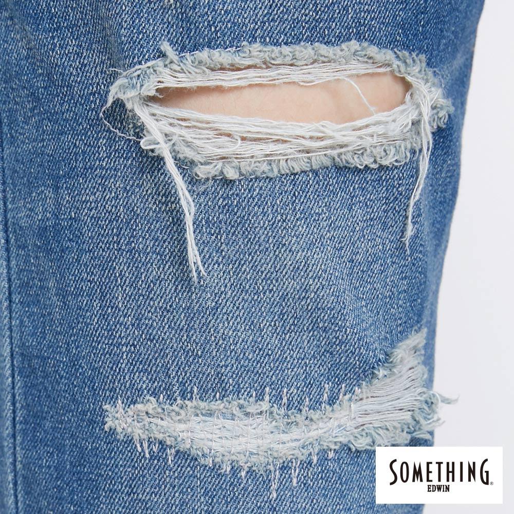 新品↘SOMETHING NEO FIT 補釘加工 AB牛仔褲-女款 中古藍 TAPERED 7