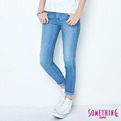 SOMETHING NEO FIT清涼 八分窄直筒牛仔褲-女款 石洗藍 SLIM