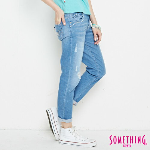 新品↘SOMETHING CELEB 破損加工 八分AB牛仔褲-女款 拔洗藍 TAPERED 2