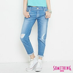 新品↘SOMETHING CELEB 破損加工 八分AB牛仔褲-女款 拔洗藍 TAPERED