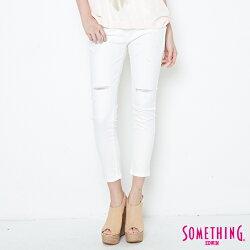 SOMETHING NEO FIT 破壞感 修身AB牛仔褲-女款 白色 TAPERED