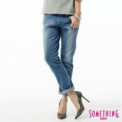 SOMETHING CELEB 後接蕾絲繡花 AB牛仔褲-女款 石洗藍 TAPERED 零碼