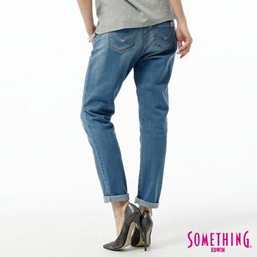【5折優惠↘】SOMETHING CELEB 後接蕾絲繡花直筒牛仔褲-女款 石洗藍 1