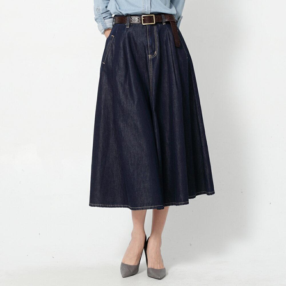 SOMETHING VIENUS 天絲Ⓡ混紡 牛仔長圓裙-女款 原藍色 1