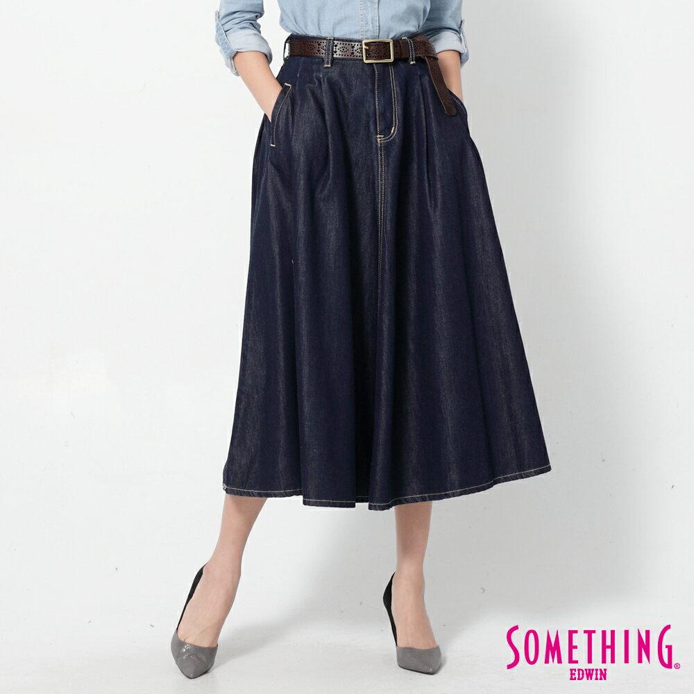 SOMETHING VIENUS 天絲Ⓡ混紡 牛仔長圓裙-女款 原藍色 0