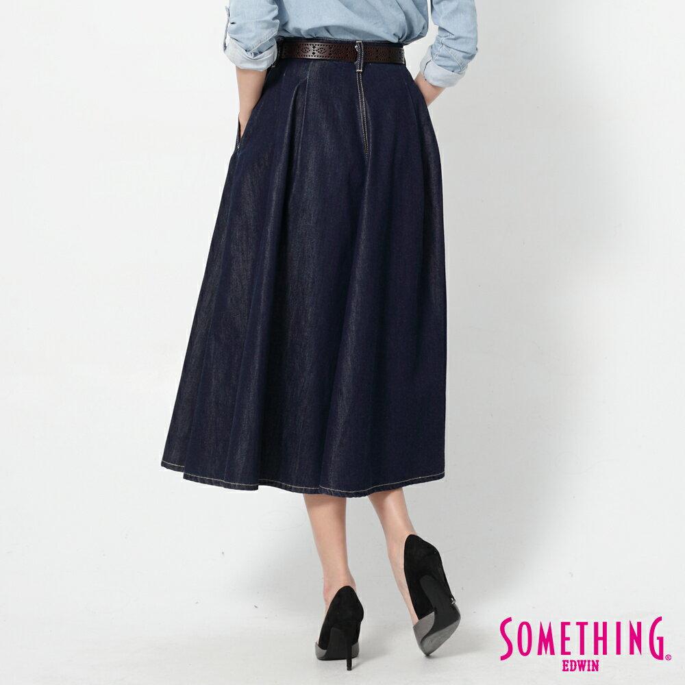 SOMETHING VIENUS 天絲Ⓡ混紡 牛仔長圓裙-女款 原藍色 2