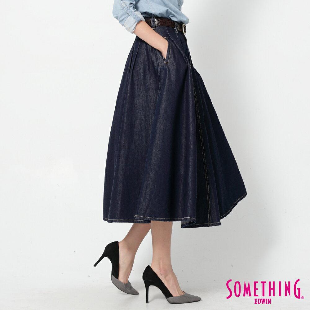 SOMETHING VIENUS 天絲Ⓡ混紡 牛仔長圓裙-女款 原藍色 3