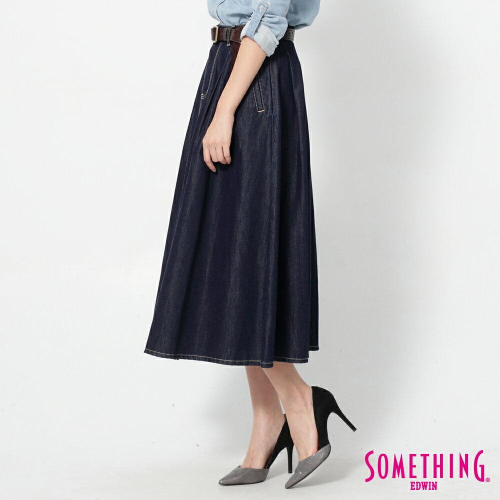 SOMETHING VIENUS 天絲Ⓡ混紡 牛仔長圓裙-女款 原藍色 4