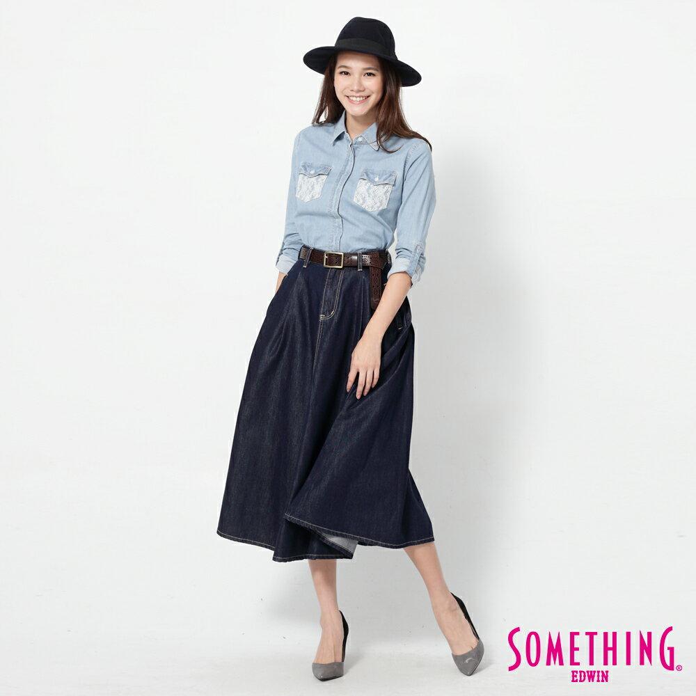 SOMETHING VIENUS 天絲Ⓡ混紡 牛仔長圓裙-女款 原藍色 5
